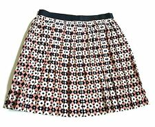 J.Crew Skirt Size 0 Silk Pleated Diamond Tile Peach Navy $118