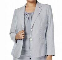 SIZE 24W Anne Klein Blue White Striped Seersucker Blazer Suit Jacket Plus 3X NWT