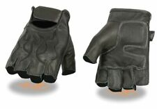 Black Leather FINGERLESS Gloves FLAMES Gel Palm Motorcycle Biker Rider Work Soft