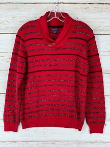 Nautica Sweater Boys Size Large 14/16 Red Black Stripe Cotton Blend Shawl Collar