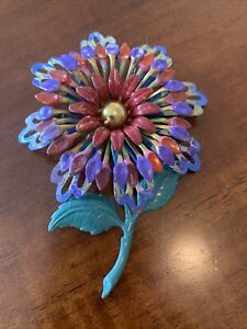 lovely enamel flower pin brooch
