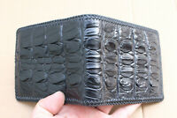 Handmade - Genuine Crocodile Alligator Skin Leather Men's Wallet Black