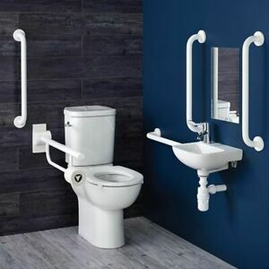 Armitage Shanks Contour 21+ Doc M Pack with Close Coupled Toilet and White Rails