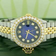 Rolex Datejust 2-Tone Gold/Steel 31mm Womens w/Blue Diamond Dial & 2.25Ct Bezel