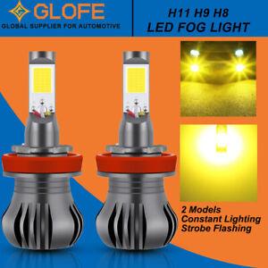 2 H11 H8 H9 LED Fog Light Kit Driving Bulb Dual Funtions Switchback Strobe 3000K