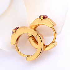Safety Little Girls 18K Yellow Gold  3 Colors Hoop Earrings Child Gift Purple
