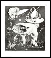MC Escher Hölle Poster Kunstdruck mit Alu Rahmen in schwarz 65x55cm