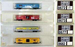 MARKLIN Z SCALE  4 American Style Freight 8672-8673-8677-8682   C7 Marklin Boxes
