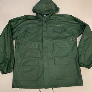 Chris Craft Green Rain Coat Slicker Tufflite PVC Rainwear Nylon Medium EUC