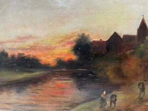 Signed Early 20th Century Oil on Board Painting - Landscape on an Autumn Evening