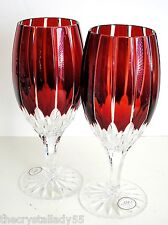 2 AJKA CASTILLE RUBY RED cased cut to clear crystal  wine ice beverage tea