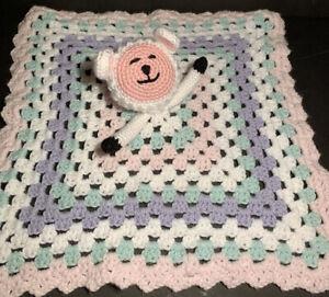 Handmade Crochet Bear Lovey Security Blanket Pink White Mint Green Purple Cute