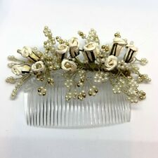 Handmade Hair Comb Beaded Pearls Paper Rose Bud Bride Special Romantic
