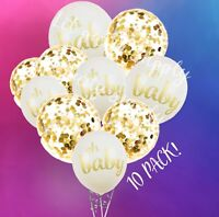10 PACK Baby Shower Balloons, Oh Baby Decorations Ideas, Gold Confetti
