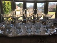 ANTIQUE-14 Mixed Goblets- Delicate  Etched, Cut Crystal - Flower Design 1920 S