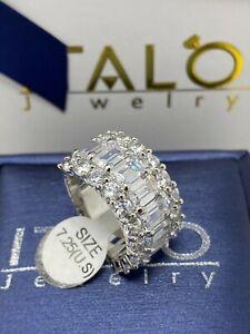 Italo Jewelry Woman's Triple Row Half Eternity Sapphire Wedding Ring Size 7.25
