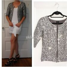 Topshop Kate Moss Silver Sequin Cardigan Evening Jacket - Size 8
