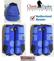 Horse Sports Leg No Turn Bell Boots MEDIUM Blue CLASSIC EQUINE Front Rear Legacy