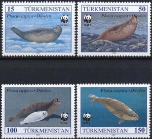 TURKMENISTAN 1993 FAUNA Animals SEALS WWF - MNH