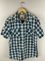 Jeanswest Men's Short Sleeve Shirt - Classic Fit -Size Medium - Blue Green Check