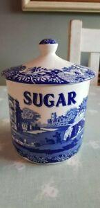 Spode - Italian Blue - Storage Jar - Canister - Sugar - Blue & White Pottery