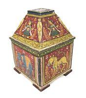 Antique India Orissa Pata-Chitras Hindu Hand Painted Wood Wood Dowry Box Pedi