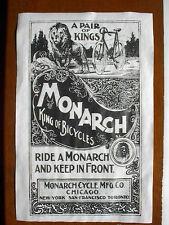 "(701) VINTAGE REPRINT ADVERT MONARCH CYCLE 1896 CHICAGO NEW YORK TORONTO 11""x17"""