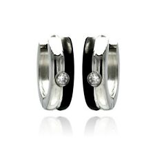 Stainless Steel Black Enamel Hoop Earrings w/ Single Clear CZ Stone