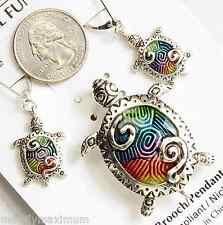 Sea Turtle Necklace Pendant Pin Earring Set Silver Tone Bright Enamel NWT