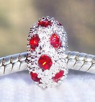 July Birthstone Red Rhinestone Ring Spacer Charm for European Bead Bracelets
