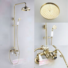 Luxury Polished Brass Double Ceramic Handle Bathroom Rain Shower Faucet Set Tub