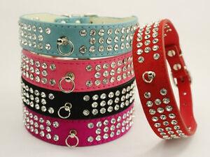 Bling 3 Rows Diamante Rhinestone Dog Cat Collar Suede Leather Pet Collar S M L
