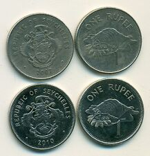 2 DIFFERENT 1 RUPEE COINS from SEYCHELLES DATING 2007 & 2010