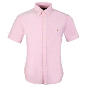 Polo Ralph Lauren Mens Slim Fit Short Sleeve Oxford Shirt Pink Size Small