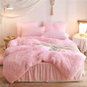 Queen Luxury Plush Shaggy Duvet Cover Flannel Velvet Bedding Duvet+ 2Pillowcases