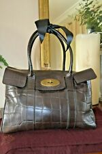 Mulberry BAG Bayswater Heritage handbag VINTAGE choc brown mock croc and DUSTBAG