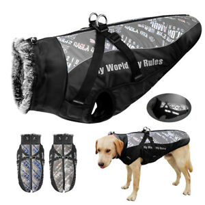 Dog Coats for Large Dogs Reflective Waterproof Dog Jacket with Harness Warm Vest