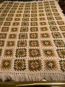"""Vintage 1970s Handmade Crochet Afghan Throw Blanket Orange Green Beige 76"""" x 55"""""""