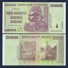 Zimbabwe 200 Million Dollars 2008 SERIES- AA Pick-81 UNCIRCULATED