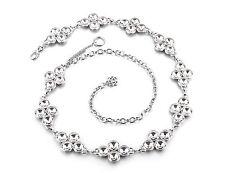 Womens Ladies Silver Rhinestone Belt Waist Chain Diamante Diamonds Buckle 736