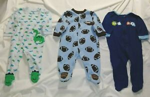 3 Month Lot of Three Boys Footed Sleepers football dinosaurs puppies Charity lst