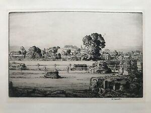 1890 Antique Etching; Village Scene by William Monk