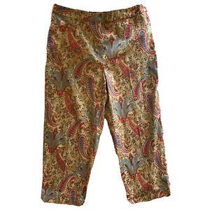 Talbots Paisley Capri Cropped Pants Stretch Pastel Marked Size 14
