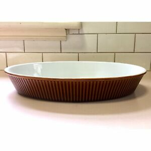 Original Vintage Retro Villeroy & Boch Brown Glaze Ceramic Casserole Baking Dish