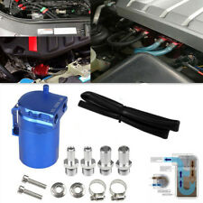 Car Blue Aluminum Oil Catch Can Reservoir Tank with Fittings and Oil Dipstick