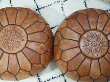 Moroccan brown POUF* Boho** with White Stitching Leather Pouf ottoman pouf