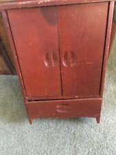 "vintage  24"" DOLL WOOD WARDROBE FURNITURE armoir CABINET"