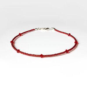 Red Swarovski Crystal Elements and Seedbead Bracelet