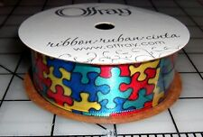 "Autism Awareness Jigsaw Puzzle Pieces Bright Color Ribbon 7/8"" Satin 10 Feet NEW"