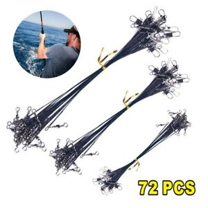 72x Fishing Lures Leader Stainless Wire Trace Set Spinning Pike Lines 16/23/31cm